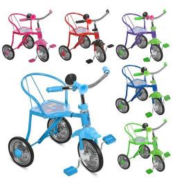 Велосипед LH-701-2 LASER (6шт)3колеса,хром,6 цв:красн,желт,зел,голуб,оранж,фиол,клаксон,51-52-40см