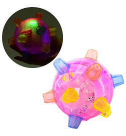 Мяч FJ 9385 (168шт) на бат-ке, муз, свет, в кульке, 13см
