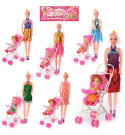 Кукла 68003 A (144шт) с коляской и дочкой, в кульке, 22-33см