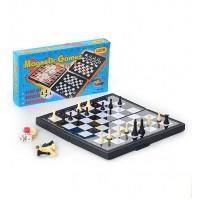 Шахматы 3831 (96шт) на магнитах, 3 в 1 (шашки, шахматы, нарды), в кор-ке, 20,5-11-3см