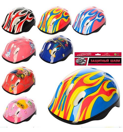 Шлем MS 0014 (40шт)  8 видов, 6 дырок, в кульке, 43-25-16см