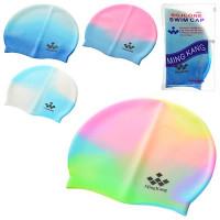Шапочка для плавания MS 0182 (144шт) 4 цвета, в сумочке, 19-11см