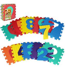 Коврик Мозаика M 2608 (10шт) EVA,цифры,10дет(10мм,31,5-31,5см),массажн,6текстур,пазл,31,5-31,5-10см