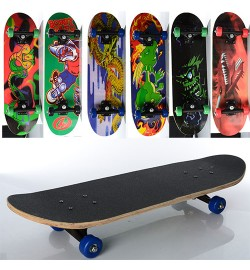 Скейт MS 0354-3 (6шт) 70,5-20см,пласт.подвеска,колесаПВХ,7слоев,6видов,608Z,разобр,доска в кульке,