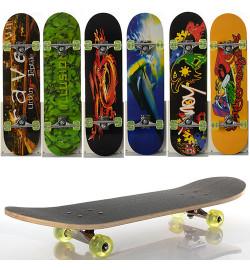 Скейт MS 0321-1 (6шт) 78,5-20см,алюм.подвеска,колесаПУ,7слоев,6видов,608Z,разобр,доска в кульке,