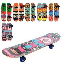 Скейт MS 0323-3 (12шт) 60-15см,пласт.подвеска,колесаПВХ,6видов,разобр,в кульке,