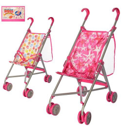 Коляска 9302 W-B (12шт) для куклы,жел,зонт,дв.колеса,поворот,сет-сумка,выс до ручки53см, 64-13-12см