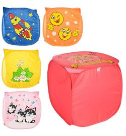 Корзина для игрушек M 2975 (60шт) 46-46-42см, с ручками, крышка, 5 видов, в кульке,46-46-05см