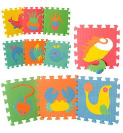 Коврик Мозаика M 0388 (12шт) EVA,морск.животные,10дет(8мм,29-29см),пазл,в кульке,29-29-8см