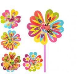 Ветрячок M 0804 (300шт) 2шт,размер сред,цветок,диаметр22см,палочка 28см,6 видов,в кульке,22-22-2см
