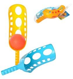 Ловушка M 3323 (96шт) ракетка 2шт, 25,5см, шарик 6см, пластик, в сетке, 26-10-7см