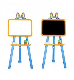Мольберт  для малювання 013777/1 жовто - синій  (крейда, маркер, мочалка), 8 шт. в ящ.