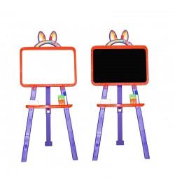 Мольберт  для малювання 013777/5 помаранчево - фіолетовий (крейда, маркер, мочалка)