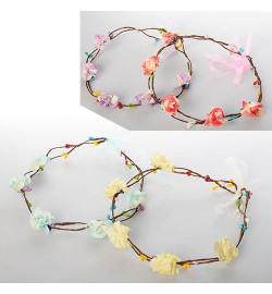 Обруч для волос X11687 (300шт) венок, завязка-лента, 6 цветов, упаковка 12шт в кульке,