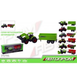 Трактор металл 7804 (240шт/2) АВТОПРОМ 8 видов в коробке 21*7,5*5,5см