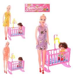 Кукла 339-2 (144шт) 2шт, с кроваткой, 27см