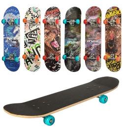 Скейт MS 0321-3 (6шт) 79,5-19,5см,алюм.подвеска,колесаПУ,7слоев,608Z,разобр,доска наждак,6видов,кул