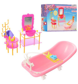 Мебель 2913 (12шт) ванная комната, ванна, умывальник, этажерка, аксессуары,в кор-ке,26-19-7,5см