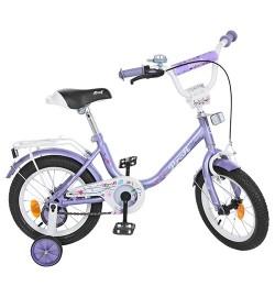 Велосипед детский PROF1 14д. Y1483 (1шт) Flower, фиолетовый,звонок,доп.колеса