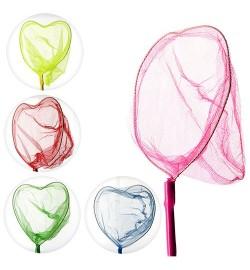 Сачок для бабочек MS 0906 (100шт) длина 93см, длина ручки 70см, сердце23-18см, бамбук, 5 цветов,