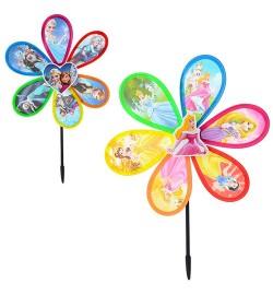 Ветрячок M 2409 (200шт) размер большой,диам.28см,палочка29,5см,цветок,ПВХ,2вид(FR,DP),кул,28-28-2см