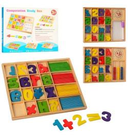 Деревянная игрушка Набор первоклассника MD 1245 (120шт) цифры,часы,3вида, в кор-ке,25-20-2см