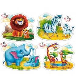 Пазлы Castorland 4х1(4,5,6,7) Африканские животные