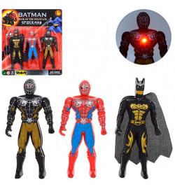Супергерои 288A5 (408шт) СМ,BM, 3шт, 12см, свет, подвижн.руки, на бат(табл), на листе, 19-21-2см