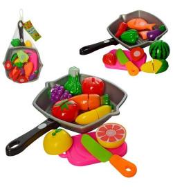 Продукты 3016C (96шт) на липучке, сковородка, нож, досточка, 2вида, в сетке, 30-20-6см