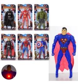 Супергерой 1161-61C (240шт) 16см, свет, 7видов (AV,BM,СП,СМ), бат(таб), на листе, 12-21,5-3см