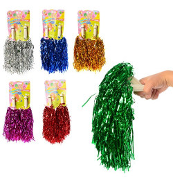 Аксессуары для праздника MK 1323 (200шт) помпон,30см,2шт,ручка пластик,фольга,6цв,лист,13,5-39-2см