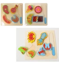 Деревянная игрушка Продукты MD 1334 (100шт) 4шт, на липучке, 3вида, в кульке, 18-18-2см