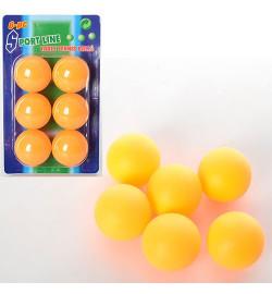 Теннисные шарики MS 0226 (240шт) 40мм, PP, бесшовный, 1 упаковка 6шт, на листе, 10,5-17,5-4см