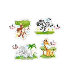 Пазлы Castorland 4х1(3,4,6,9) Африканские животные