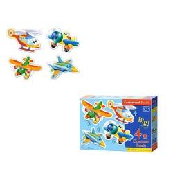 Пазлы Castorland 4х1(3,4,6,9) Смешные самолеты