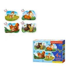 Пазлы Castorland 4х1(3,4,6,9) Лесные животные