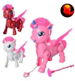 Лошадка 3188-32 (96шт) единорог16см, звук, свет, ходит, 3 цвета,на бат-ке,в кульке,16-17-17см