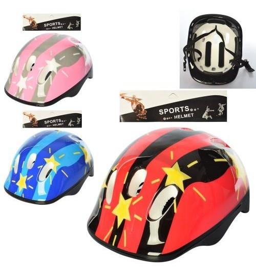 Шлем MS 1954 (20шт) 26-20-14см,разм.средн,6отверстий, регулир.ремешок,3цвета,в кульке,25-33-14см