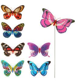 Ветрячок M 3722 (300шт) размер маленький, диам.20см,бабочка,блеск,микс цветов,палочка металл45см