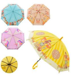 Зонтик детский MK 2620 (36шт) дл66см,трость61см,диам81см,спица49см,свисток,клеенка,4вида, в куль