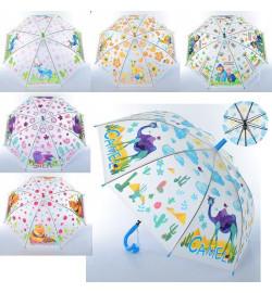 Зонтик детский MK 3877-2 (60шт) длина66см,трость61см,диам81см,спиц48см,клеен,свист,6вид(животн),кул