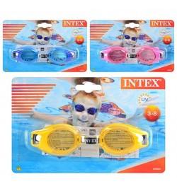 Очки для плавания 55601 (12шт) 3 цвета, 3-8 лет, регулируемый ремешок, на листе, 19,5-12,5см