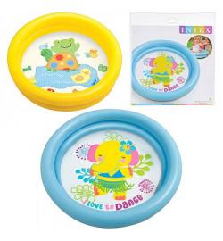 Бассейн 59409 (36шт) круглый, детский, 61-15см,2 кольца,1-3 года,рем компл,2 вида,в кульке,25-25-3с