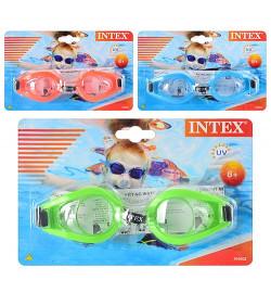 Очки для плавания 55602 (12шт) 3 цвета, от 8лет, регулируемый ремешок, на листе, 19,5-12,5-3,5см