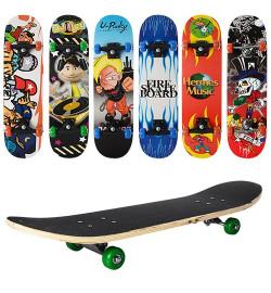 Скейт MS 0322-3 (6шт) 78-19,5см,пласт.подвеска,колесаПВХ,7слоев,6видов,608Z,макс.нагр.45кг,разобр,