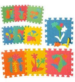 Коврик Мозаика M 0386 (12шт) EVA,растения,10дет(8мм,29-29см),пазл,в кульке,29-29-8см
