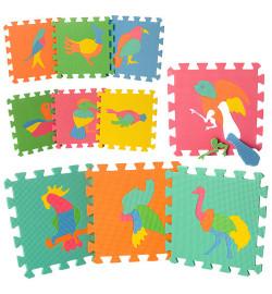 Коврик Мозаика M 0387 (12шт) EVA,птицы,10дет(8мм,29-29см),пазл,в кульке,29-29-8см
