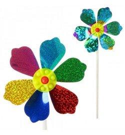 Ветрячок M 2410 (200шт) размер маленький,диам.14см,палочка27см,цветок,фольга,2цвета,