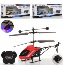 Вертолет XY-002 (24шт) р/у,аккум,19см,свет,гироскоп,USBзарядное,3цвета,в кор-ке,43,5-17-7см