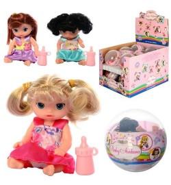 Кукла A268F (144шт) 11см, в шаре 9см, бутылочка, 12шт(3вида) в дисплее, 31-19-21см